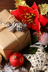 Gift box with christmas ornament