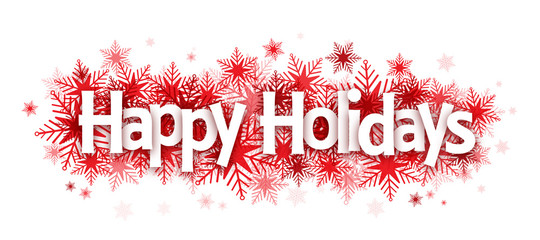 HAPPY HOLIDAYS on snowflakes Fotomurales