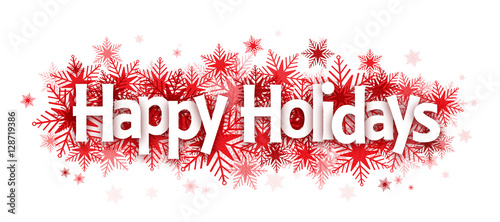 HAPPY HOLIDAYS on snowflakes Stock image and royaltyfree vector