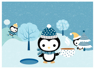 Cute penguins with hats, scarves, skates in winter  scene for greeting cards