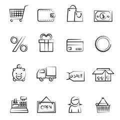 Shopping icon outline set