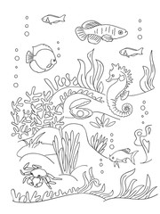 Sea bottom coloring book page.
