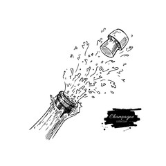 Champagne bottle explosion. Hand drawn isolated illustrat