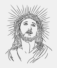 Jesus christianity religion line art drawing style, good use for symbol, logo, web icon, mascot, sign, sticker, or any design you want.