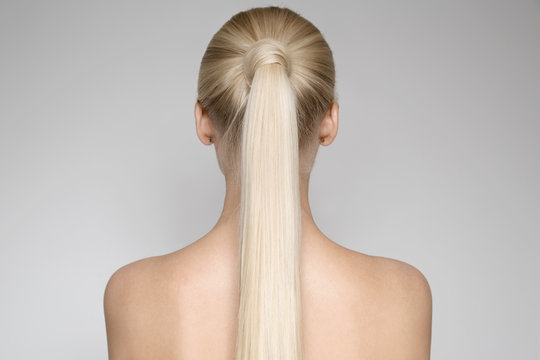 Portrait Of A Beautiful Young Blond Woman  Ponytail Hairstуle