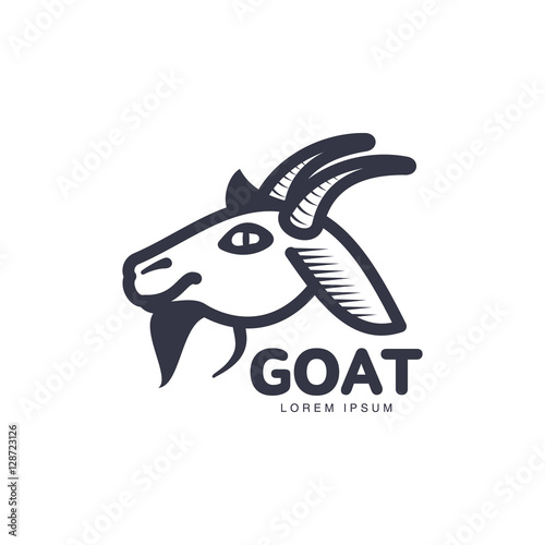 Side View Goat Head Logo Template For Meat And Dairy Products Cartoon Vector Illustration On