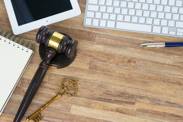 Workspace hero header with law gawel, top view, copy space on wooden table desktop