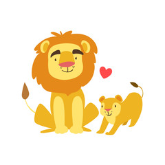 Lion Dad Animal Parent And Its Baby Calf Parenthood Themed Colorful Illustration With Cartoon Fauna Characters