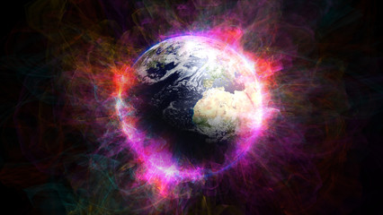 Planet Earth in space.Globe in galaxy. Elements of this image furnished by NASA