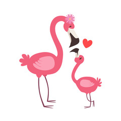 Pink Flamingo Mom With Flower Animal Parent And Its Baby Calf Parenthood Themed Colorful Illustration With Cartoon Fauna Characters