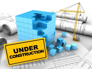 3d illustration of blue cube over drawing rolls background with crane