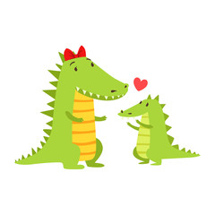 Crocodile Mom With Red Bow Animal Parent And Its Baby Calf Parenthood Themed Colorful Illustration With Cartoon Fauna Characters