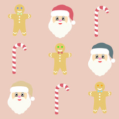 Flat set of Christmas pictures in vintage colors with Santa and gingerbread man and candy cane