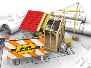 3d illustration of frame house structure over house plan background with crane