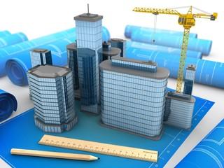 3d illustration of city over blueprints background with crane