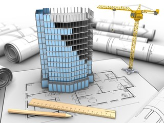 3d illustration of city building over house plan background with crane