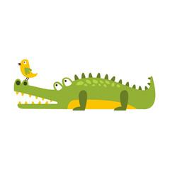 Crocodile Watching Bird On His Nose Flat Cartoon Green Friendly Reptile Animal Character Drawing