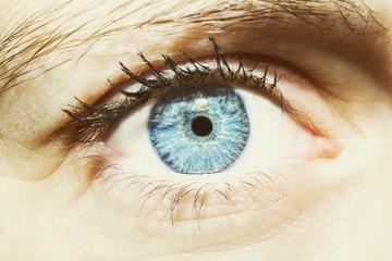 Beautiful insightful look women's blue eye