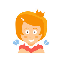 Little Red Head Girl In Red Dress Wearing A Crown Flat Cartoon Character Portrait Emoji Vector Illustration