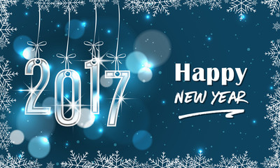Blue 2017 New Year banner with snowflakes.