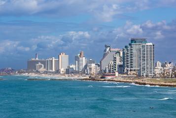 TEL AVIV, ISRAEL - MARCH 2, 2015: The building on the coast of Tel Aviv.