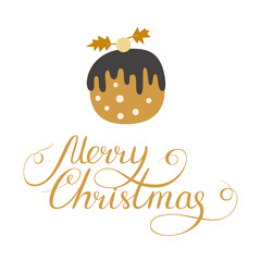 Simple Christmas card design with doodle illustration and letter