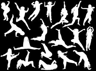 nineteen jumping girl silhouettes collection on black