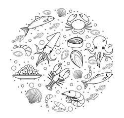 Seafood icons set in round shape, line, sketch, doodle style. Sea food collection isolated on white background. Fish products, marine meal design element. Vector illustration