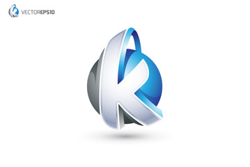 Abstract Letter K Logo - 3D Sphere Logo