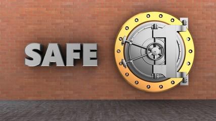 3d illustration of vault door storage over brick wall background with safe sign