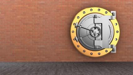 3d illustration of vault door storage over brick wall background