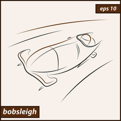 Vector illustration. Illustration shows a bobsledder driving on the car. Bobsleigh. Winter sport