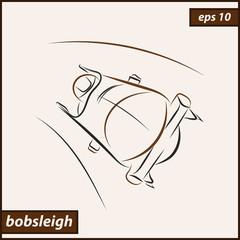 Vector illustration. Illustration shows a bobsledder driving on the car. Bobsleigh. Winter sport