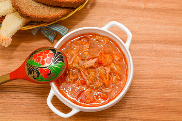 Russian cabbage soup on the table