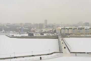 November 27, 2016: Photo of Cheboksary bay on the Volga River in