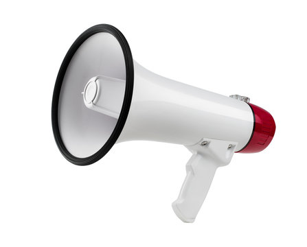 Close up of a bullhorn, megaphone isolated on white background