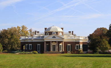 Monticello, Thomas Jefferson's home in Virginia, from the West Lawn, built 1772
