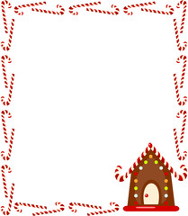 Large rectangular frame of candy canes with gingerbread house.