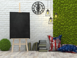 Easel with blank black poster in the loft interior,  3d illustration.