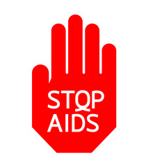 Stop AIDS logo design in red hand. Vector Illustration isolated on white background.