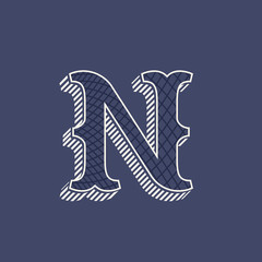 N letter logo in retro money style with line pattern.