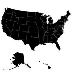 Карта Соединенных Штатов Америки. С границами штатов. Векторная иллюстрация.
