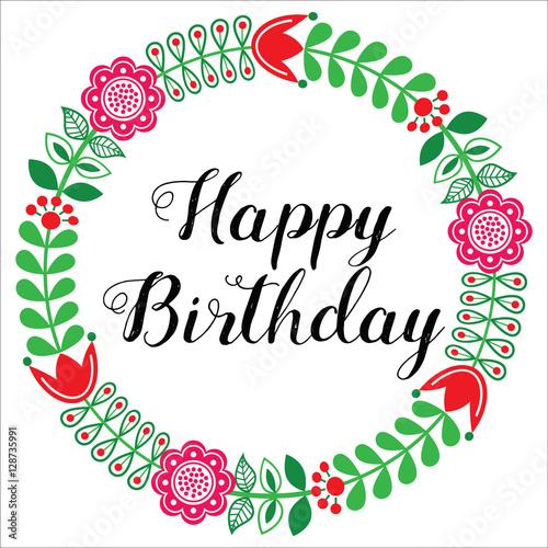 Happy Birthday Greetings Card Scandinavian Folk Art Style Stock