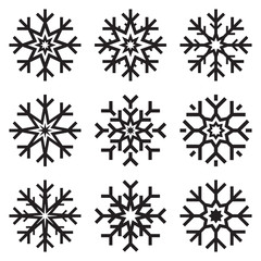 Nine vector snowflakes set on white background, winter icons silhouette, ice stars, vector elements for your holiday design projects