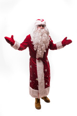 Happy man santa claus standing and showing welcome gesture over white background