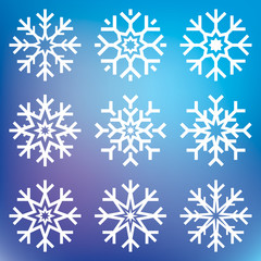 Nine vector snowflakes set on blue mesh background, winter icons silhouette, ice stars, vector elements for your holiday design projects