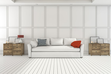 3d rendering nice wood cupboard with white sofa in white living room