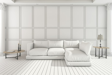 3d rendering white soft sofa in classic living room