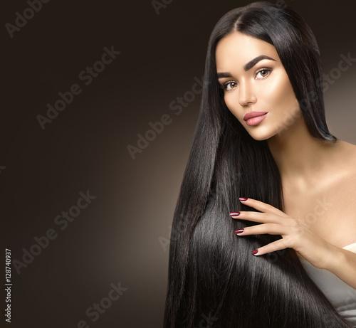 Beautiful Brunette Model Girl With Long Straight Black Hair Over