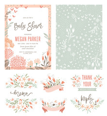 Baby Shower invitation templates with floral and typographic design elements. Menu, Thank Your, Reception Card, seamless pattern and banners. Vector illustration.